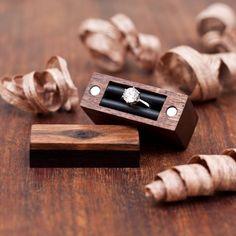 Ring box - walnut and ebony wood