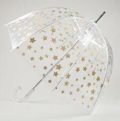 Star Print Clear Bubble Umbrella