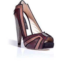 Chrissie Morris Bordeaux/Nude Peep Toe Platform Pumps featuring polyvore women's fashion shoes pumps red low heel pumps red platform pumps peep-toe pumps peep toe pumps nude pumps