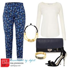 Outfit styled by the stylist Ria Johnson, based on a pair of print trousers from French Connection