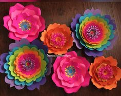 Trolls theme paper flowers / trolls theme birthday decor / Trolls paper flower backdrop / rainbow color paper flowers