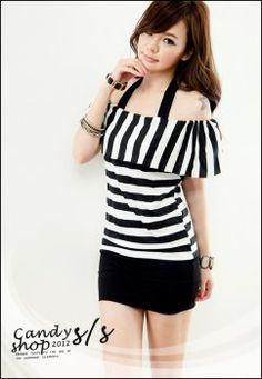 Stripe korean asian dress