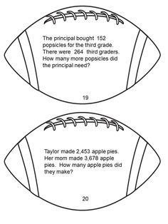 Football Theme Math Task Cards