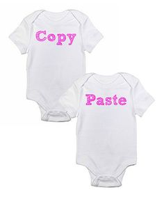 This Love you a Latte White & Pink 'Copy' & 'Paste' Bodysuit Set - Infant by Love you a Latte is perfect! #zulilyfinds