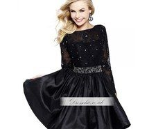 Inspiring image Black Beaded Lace Short Prom Dress With Long Sleeve #811859 by marryxue - Resolution 600x600px - Find the image to your taste