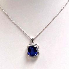 "14k White Gold 18"" Blue Sapphire & Diamond Necklace"