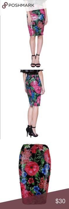 Floral Print Sequin Skirt Floral print and sequin midi skirt Skirts Midi