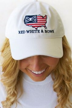 Red, White, & Bows Hat in White by Jadelynn Brooke