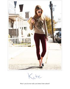 Burgundy cropped trousers with neutrals and leopard - totally my style