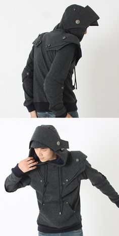 Knight Armor Hoodie in dark grey