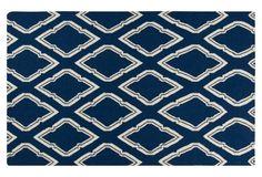 Zeus Flat-Weave Rug, Blue Corn