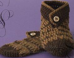 Button-Cuff Slippers Crochet Pattern