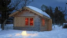 Scandinavian cabin near Trondheim, Norway. Eco Cabin, Tiny House Cabin, Cabin Homes, Log Homes, Scandinavian Cabin, Log Cabin Living, Building A Cabin, Cabins And Cottages, Log Cabins