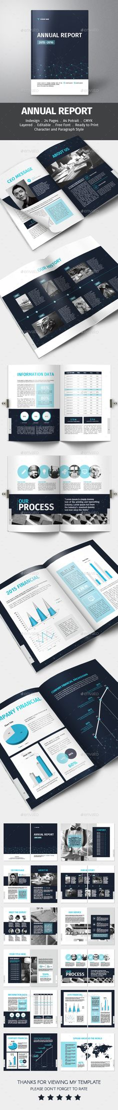 I like the page layout of this one.  Annual Report Template INDD, Vector. Download here: http://graphicriver.net/item/annual-report/15470670?ref=ksioks