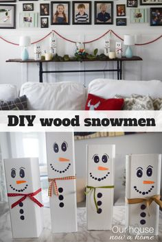 A quick and simple Christmas/winter craft, perfect for the kids too! These DIY wood snowmen are easy enough to make and are so adorable! Adding s a fun and whimsical feel to the Christmas decorations in your home!