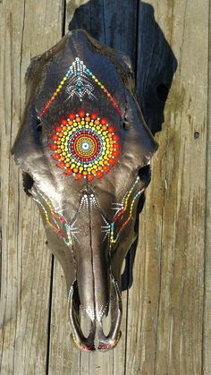 Hand painted cow skull by Resurrection Skulls