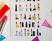 Items similar to Pink Still Life Decorative Illustration Art Poster on Etsy