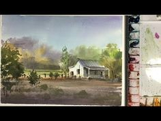 Watercolor landscape painting : morning sunlight in the field