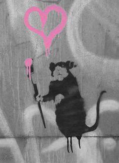 Banksy Rat, Bansky, Urban Graffiti, Street Artists, Make Me Smile, Moose Art, Sculpture, Anarchy, Canvas