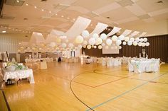 Butcher paper draped over lines, paper lanterns, strings of lights. good idea for party's too, blue or different shades of blue paper draped over washing lines ;)