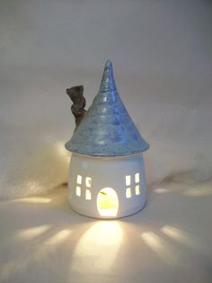 Fairy House/ Night Light - with a Blue/Aqua Roof. via Etsy. Clay Houses, Ceramic Houses, Diy Clay, Clay Crafts, Ceramic Lantern, Pottery Houses, The Potter's Wheel, Paper Clay, Air Dry Clay