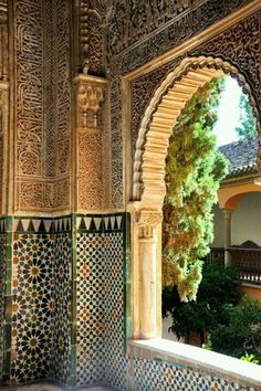 The Alhambra Palace in Granada - Andalusia, Spain Islamic Architecture, Amazing Architecture, Art And Architecture, Architecture Details, Alhambra Spain, Granada Spain, Andalusia Spain, Islamic World, Islamic Art