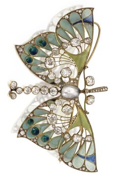An Art Nouveau Gold, Diamond, Pearl and Enamel Butterfly Pendant-Brooch, Vever, Paris, Ca.1900. Designed as a butterfly, the wings decorated with plique-à-jour enamel, further accented by reflective cabochonné enamel circlets of peacock blue, the delicate gold openwork mounting centring a mauve-coloured baroque pearl completed by an articulated diamond-set tail, highlighted throughout by old mine and rose-cut diamonds, signed Vever, Paris. #Vever #ArtNouveau #brooch