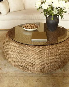 This is called a Driftwood Coffee Table by Ralph Lauren Home at Neiman Marcus.. but I think it could be upcycled with twine over a tire, just like my upcycled ottoman pin.