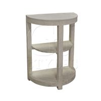"""Half Moon Side Table W/ Stone Top-H - 33.75"""" D - 13.75"""" W - 23.5"""" MADE WITH RELCLAIMED PINE. WHITE STONE TOP WITH GREY VIENING. PIECE CAN BE USED AS AN EXTENDER FOR ITEM AH44. STOCK: 7 Large Furniture, Quality Furniture, White Stone, Stool, Side Tables, Pine, Design, Home Decor, Grey"""