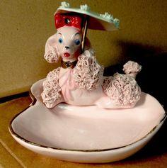 Vintage Gum Guard Ring Holder Spaghetti Pink Poodle Dog Figurine Rare Estate