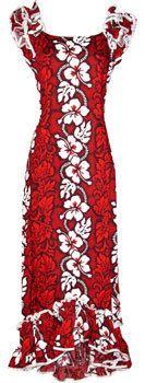 Women Red Hawaiian Muumuu Dress