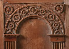 Woodcarving details of interior of old Olden church, Norway