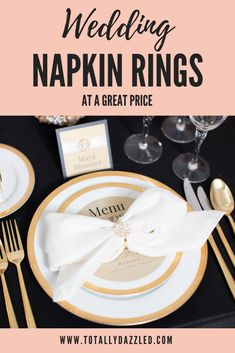 This site has the best wedding napkin rings! They offer a huge selection of styles in silver, gold, rose gold, and pearl. There are so many beautiful ideas on this site for adding a little bling to your wedding reception. Blush Wedding Colors, Gold Wedding Theme, Sparkle Wedding, Wedding Table Settings, Wedding Reception Decorations, Wedding Napkins, Wedding Napkin Rings, Ballet Wedding, White Flower Arrangements