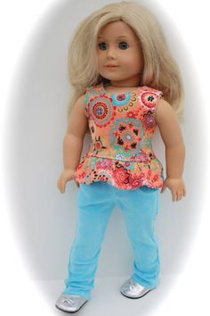 Trendy Bright Peplum Jean Outfit for American Girl by closet4chloe, $26.00