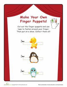 Worksheets: Baby Bird Finger Puppets