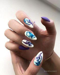 Violet French Manicure Gel Nails, Long Gel Nails, Nail Nail, Almond Acrylic Nails, Almond Nail Art, Short Nail Designs, Nail Art Designs, Cute Nails, Pretty Nails
