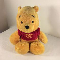 Walt Disney Classic Bean Bag WINNIE THE POOH Bear Plush Stuffed Animal Red Shirt #Disney