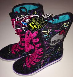 MONSTER HIGH GIRLS Sneakers Hi-Top Glow in dark SHOES NEW multiple sizes and combined shipping available