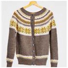Nancykofte Dame Mellombrun Ladies Cardigan Pattern free if yarns for garment is purchased at the same time. Cardigan Pattern, Knit Cardigan, Fair Isles, Fair Isle Knitting, Knit Fashion, Vintage Knitting, Sweater Jacket, Knit Patterns, Cardigans For Women