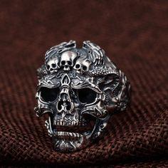 Mens Skull Rings, Silver Skull Ring, Skull Jewelry, Mens Jewellery, Jewlery, Silver Jewelry, Gothic Rings, 925 Silver, Rocker Chick