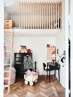 Great idea for small kids room - Self made bed and great use of space under for working and plying
