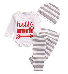 Newborn Baby Girl Boy Clothes Outfit Arrow Romper Striped Pants Hat Set white *** You can get more details by clicking on the image. (This is an affiliate link) Little Boy Outfits, Outfits With Hats, Baby Boy Outfits, Kids Outfits, Baby Boy Clothing Sets, Cute Baby Clothes, Coming Home Outfit Boy, Baby Girl Newborn, Baby Boys