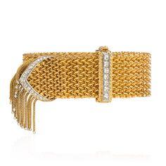 Retro woven gold and diamond strap bracelet, France