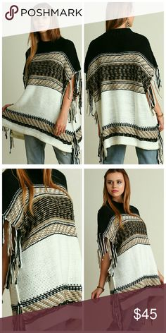 "Fringe Poncho Poncho with Fringe Detail on Sleeves  Model 5'9"" wearing a S/M Sweaters Shrugs & Ponchos"