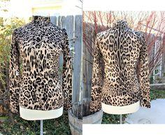0a2f440b47cea 1990 s Leopard Cheetah Print Knit Turtleneck Top Soft Sexy Medium Vintage  Retro 90 s Exotic Animal Print Africa Rayon Blend Sweater