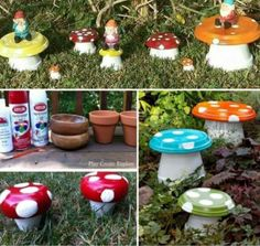 DIY Clay Pot Flower People Upcycle Terracotta Pots and Saucers into these colorful Toadstools that will add colour and personality to your home. Terracotta Pots and Saucers into these colorful Toadstools that will add colour and personality to your home. Clay Pot Projects, Clay Pot Crafts, Diy Clay, Clay Flower Pots, Flower Pot Crafts, Painted Clay Pots, Painted Flower Pots, Garden Crafts, Garden Projects