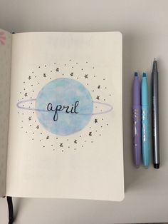 April title page, cover spread in bullet journal