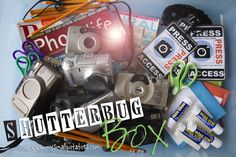 Shutterbug Box...everything your little one needs to be photojournalist in one box! via @shutterlily at www.mysmallpotatoes.com #photography #kindergarten #preschool #toddlers #camera #shutterbug