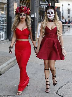 Day of the Dead: Newcomer Kate Wright and GeorgiaKousoulou arrived in mexicna themed Day of the dead sugar skull outfits