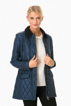 Stylish navy quilted jacket.